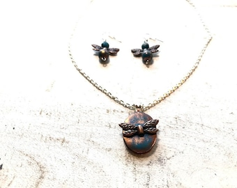 Dragonfly Polymer Clay Set| Charm set| Antique Set| Bridesmaid Gift | Gifts for her | Polymer Clay Necklace Set