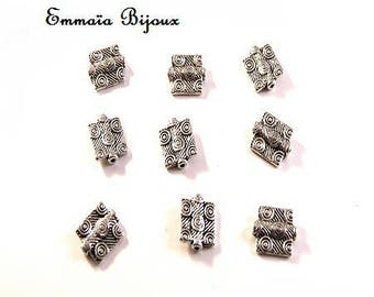 6 beads 10 x 12 mm square silver metal