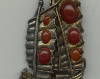 Interesting Chinese Junk Style Boat Brooch-1950's