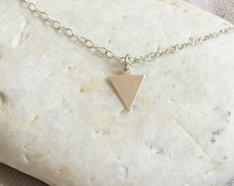 Silver Triangle Necklace - Small Triangle Solid Sterling Silver 925 Simple Modern Minimalist Geometric Pendant Charm
