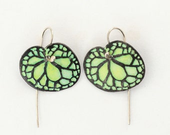 Silver Enamel Earrings , Begonia Earrings , Oxidized Silver Green Leaf Earrings , woodland wedding