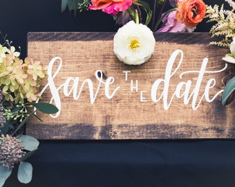 Save the Date; Wooden Wedding Sign, Rustic
