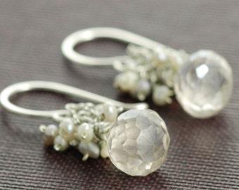 Delicate Silver Seed Pearl Cluster Earrings, Drop Earrings, Handmade Wedding Jewelry