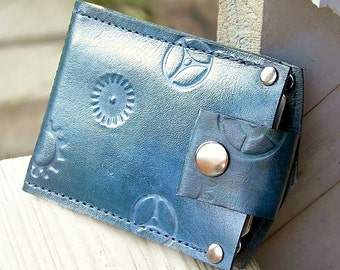 Men's Leather Billfold Wallet - Slim Jim Money Clip Steampunk Bifold - Blue Hues