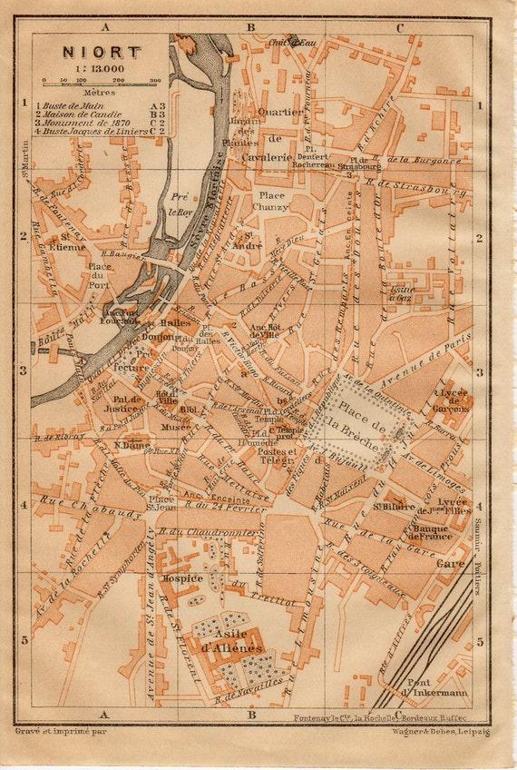 1914 Niort France Antique Map Vintage Lithograph