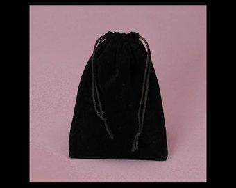 2 - 3 x 4 inch Black Velour Bag for Gift Packaging