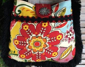 Pretty floral boho bag shoulder bag purse