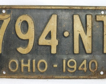 Vintage 1940 License Plate Ohio State Hot Rod Muscle Car Historical Garage 40