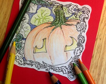 Art Nouveau Pumpkin digistamp to color, print, for cards + more (line art by Kir Talmage)
