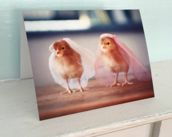 Chickens in Wedding Veils Baby Animal Wedding Chicks in Hats Lesbian Wedding Card (1) #73