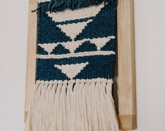Blue & Cream Triangle Framed Weaving