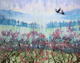 LARGE ORIGINAL Oil Painting - Going Elsewhere - a winter landscape with crows