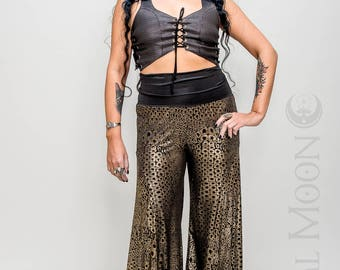 NEW: The Crescent Flare Harem Pants in Black with Gold Print or Solid Black by Opal Moon Designs (Size XS-XL)