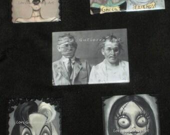 Lori Gutierrez OOAK Art - Halloween Character Magnets:  Cruella, Sally, Bride of Frankenstein and More!!