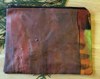 43 CEDAR ABSTRACT - large reclaimed canvas zipper pouch