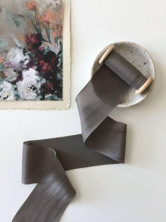 OBSIDIAN GRAY Plant Dyed Silk Ribbon
