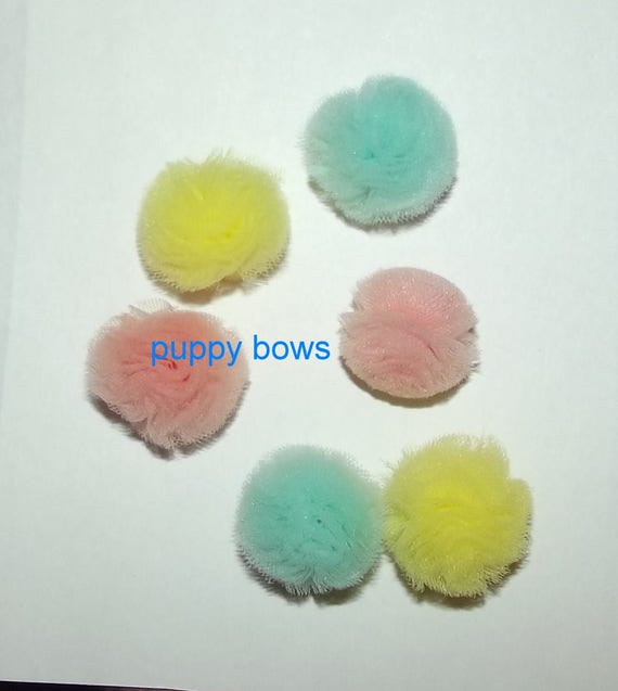 """Puppy Bows ~NEW TINY 1"""" disco balls dog grooming bow all colors of tulle pet pom poms (fb96)"""