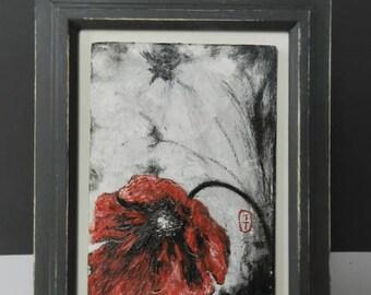 Red Poppy, poppy painting, poppy oil painting, original painting, floral painting, original art, poppy art, gift mum, Remembrance Day