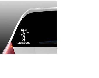 Golf Like a Girl Car Window Decal