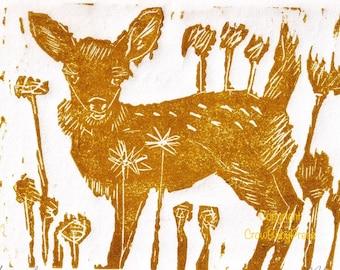 Woodland Decor,Golden Fawn Linocut Print,gold deer Lino print,reprinted from hand pulled original, nursery Lino print, woodland,child's room