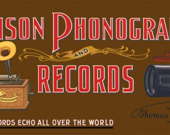 Reproduced Vintage Edison Phonograph and Records Canvas Print