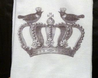 Flour Sack Towel - Bird Towel - Paris Kitchen towel - Crown - Tea towel - dish towel - 100% cotton - decorative kitchen towel
