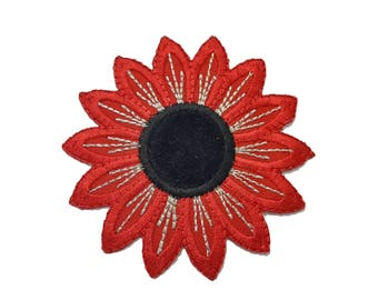 Red Flower Iron On Applique, Floral Iron On Patch, Flower Applique, Flowers Patch, Embroidered Patch