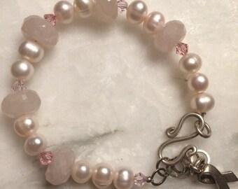 Cancer Awareness Pearl Bracelet