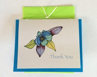 Columbine Thank You Greeting Card-Cream- Set of 10-Available blank