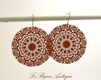 Cinnamon earrings round discs perforatedretro earrings vintage inspired bronze christmas gift for her