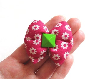 Fuchsia Pink White Floral Puffy Bow Hair Clip