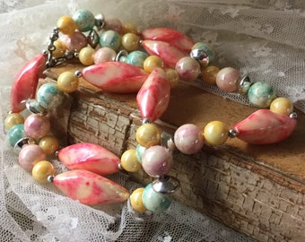 Fresh Garden Colours Lucite Bead Necklace Unsigned 1960's 1970's Single Strand Simple Design Pink Yellow Red Green Silver Tone Beads Metal