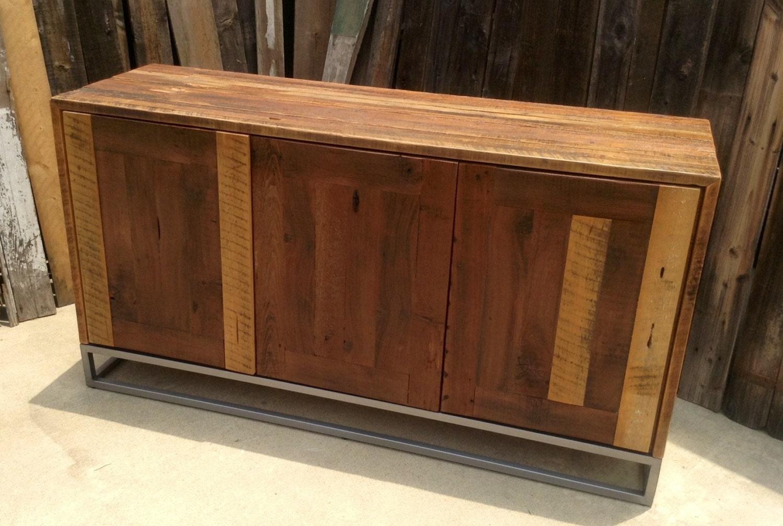 Custom Rustic Modern/ Industrial Reclaimed Wood Buffet Cabinet