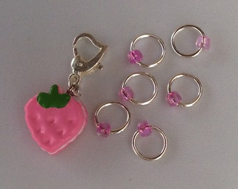 Pink Strawberry - snagless stitchmarkers and placeholder