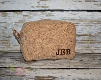 Men's Cork Shave Bag, Dopp Kit, Toiletry Travel Case - Personalized Monogrammed Groomsmen, Wedding, Birthday, Graduation, Father's Day Gift