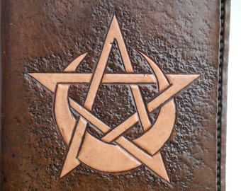 Handmade Leather Pagan notebook / Spellbook / Grimoire / Pentagram A6
