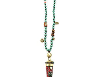 Indian pendant necklace, Boho necklace, Bohemian necklace, Boho jewelry, Bohemian jewelry, Necklace for women, Gift for women