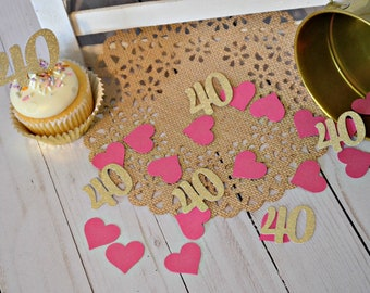 40th Birthday Confetti.  40th Anniversary Confetti. 40 Confetti. Forty. 40th Birthday Party Decorations. 40th Decor. 40th Birthday Ideas.