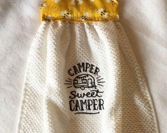 camper towel, hanging kitchen towel