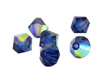DARK INDIGO AB 6mm Bicone Crystals, Dark Blue Swarovski Crystals, 37 pcs
