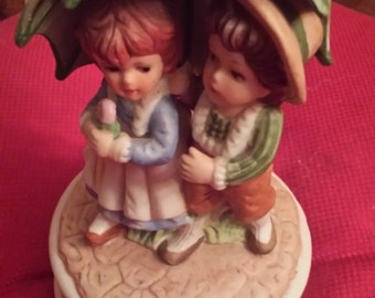Vintage Boy and Girl Under Umbrella Music Box Made in Taiwan