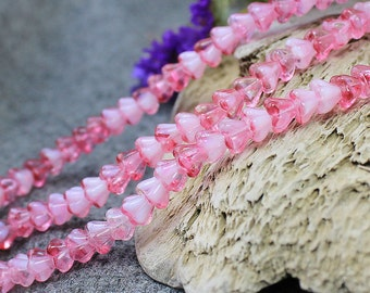 Czech Glass Flower Beads, 30 pcs Glass Floral Beads, Pink Flower Beads 4x6 mm, Bell Flower Beads