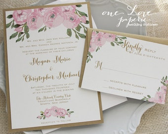 Flower Bloom Wedding Invitation & RSVP, Watercolor Flower Wedding Invitation, Custom Colors! ____ Starting at:
