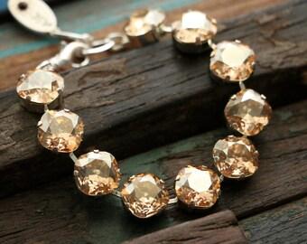 Swarovski Crystal 12mm Square Cut Tennis Bracelet in Crystal Golden Shadow
