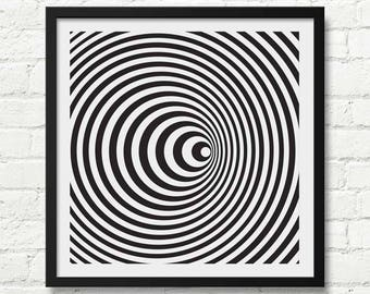 Optical Illusion Art, Black and White, Bridget Riley Art, Black and White Art Print, Optical Wall Art, Abstract Decor, Abstract Art, bw art