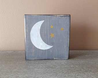 Wood Block Decor Mix and Match - Moon and Stars