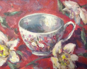 English Tea cup and daffodills original painting  5 x 7""