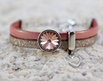 Leather Bracelet Handmade Jewelry Bracelets for Women Swarovski Crystal Bracelet Femme Charm Bracelet Womens Gift Birthday Gift for Her