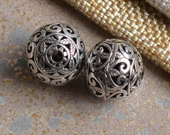 Large Sterling Silver Bead, Floral Bead, Carved Bead, 15mm Bead, Silver Filigree Bead, Focal Beads, Thai Silver Beads, One Bead, KP17-0120F