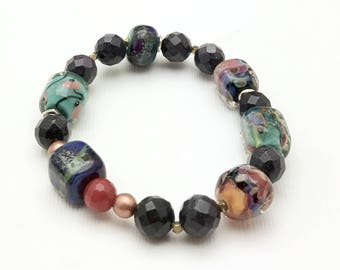 Colorful Lampwork Sterling Silver Bluestone Boho Beaded Bracelet  Navy Blue Chunky Eclectic for her Under 110 Free Gift Wrap